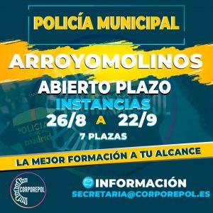 ABIERTO PLAZO DE INSTANCIAS 7 PLAZAS POLICÍA LOCAL ARROYOMOLINOS: