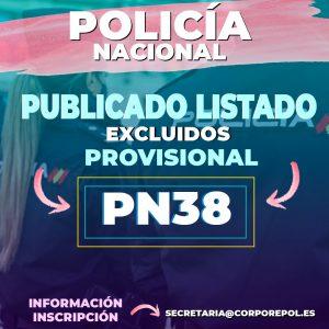 PUBLICADO LISTADO DE EXCLUIDOS POLICÍA NACIONAL PROMOCIÓN 38: